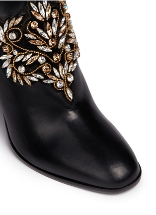 Detail View - Click To Enlarge - René Caovilla - Strass appliqué leather ankle boots