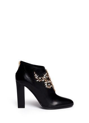 Main View - Click To Enlarge - René Caovilla - Strass appliqué leather ankle boots