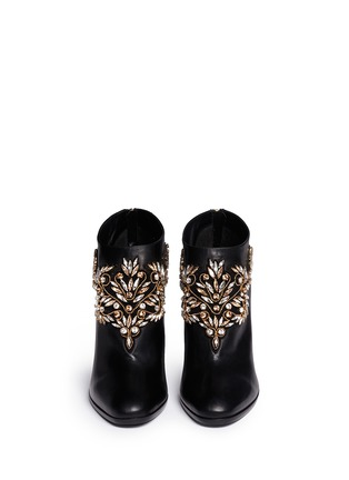 Figure View - Click To Enlarge - René Caovilla - Strass appliqué leather ankle boots