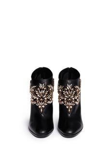 RENÉ CAOVILLAStrass appliqué leather ankle boots