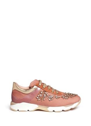 Main View - Click To Enlarge - René Caovilla - Strass appliqué mix trim velvet sneakers