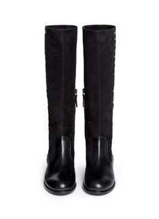 ALEXANDER MCQUEENSuede shaft stud leather boots