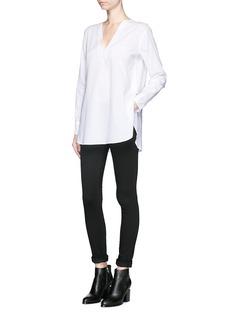 HELMUT LANGV-neck cotton lawn tunic shirt