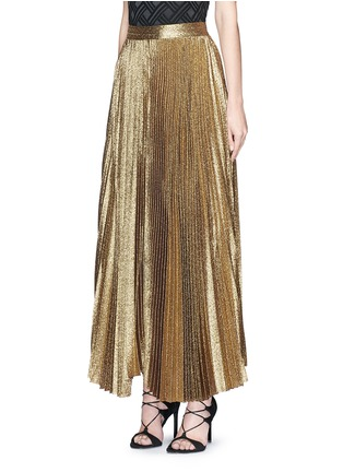 Front View - Click To Enlarge - alice + olivia - 'Katz' glitter lamé pleat maxi skirt