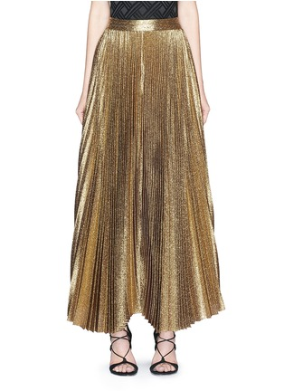 Main View - Click To Enlarge - alice + olivia - 'Katz' glitter lamé pleat maxi skirt