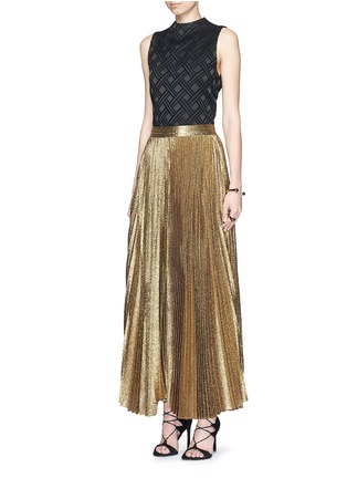 Figure View - Click To Enlarge - alice + olivia - 'Katz' glitter lamé pleat maxi skirt