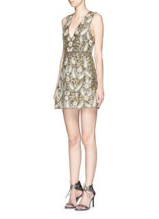 ALICE + OLIVIA'Jania' embellished plunge V-neck dress