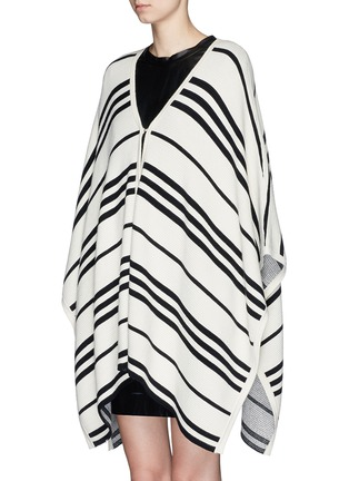 Front View - Click To Enlarge - alice + olivia - 'Raelyn' stripe handkerchief poncho