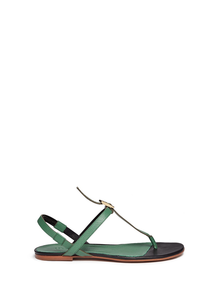 Snakeskin trim leather thong sandals