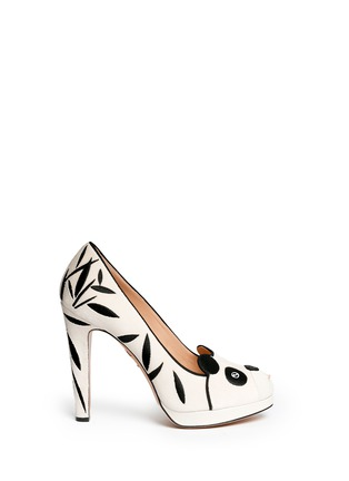Main View - Click To Enlarge - Charlotte Olympia - 'Mei Xiang' panda velvet platform pumps