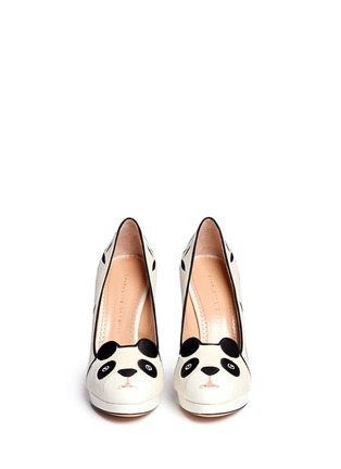 Figure View - Click To Enlarge - Charlotte Olympia - 'Mei Xiang' panda velvet platform pumps