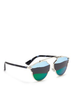 Dior 'Dior So Real A' stripe mirror panto sunglasses