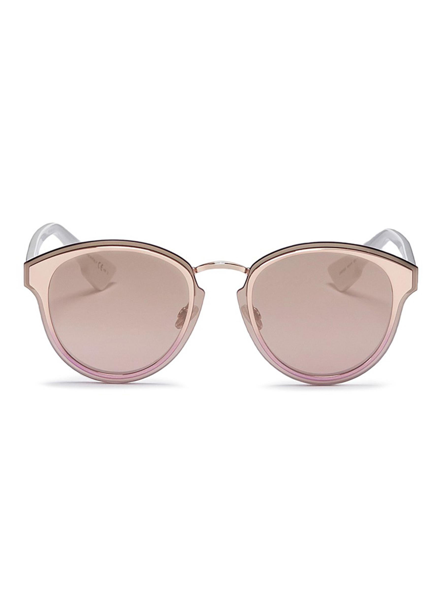 dior female dior nightfall acetate temple metal round mirror sunglasses