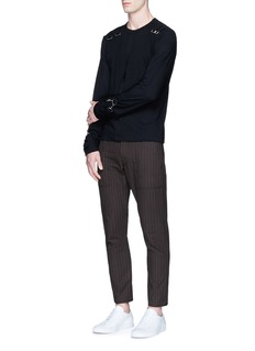 Comme Des Garçons Shirt Buckle hook cotton long sleeve T-shirt
