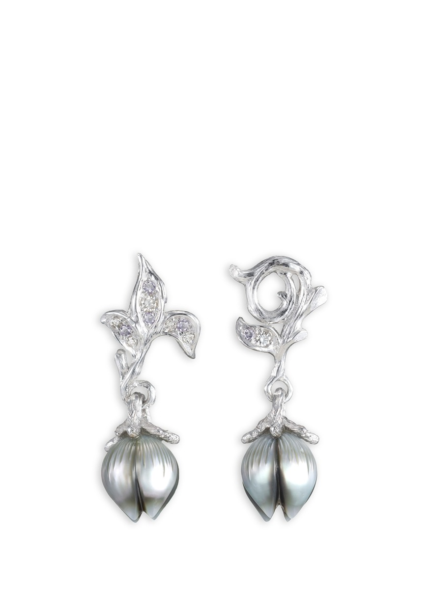 Bellflower pearl bud diamond amethyst 18k white gold earrings by Heting