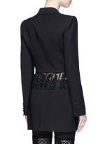 Beaded corset waist wool-silk blazer