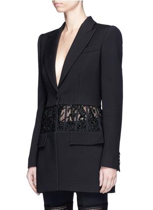 Front View - Click To Enlarge - Alexander McQueen - Beaded corset waist wool-silk blazer