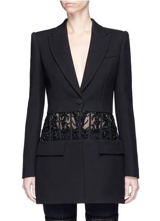 Main View - Click To Enlarge - Alexander McQueen - Beaded corset waist wool-silk blazer