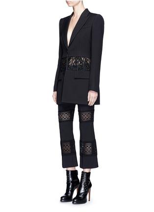 Figure View - Click To Enlarge - Alexander McQueen - Beaded corset waist wool-silk blazer