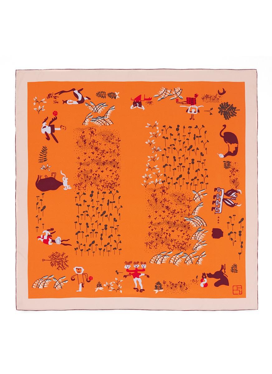 12 Gods print silk scarf by SHANG XIA