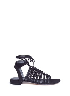 Stuart Weitzman 'Knot Again' tie ankle caged suede sandals