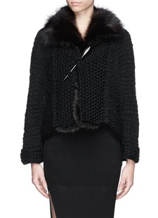 HUN RICK OWENS Fisher fur collar wool chunky knit cardigan