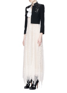 Alexander McQueen Embellished lace convertible cropped leaf crepe jacket
