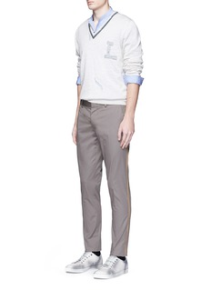 Lanvin Braided stripe cotton chinos