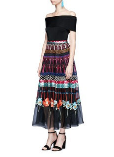 Temperley London Aura' floral embroidered sheer silk skirt