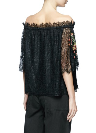 Back View - Click To Enlarge - Temperley London - 'Leo' floral embroidered guipure lace off-shoulder blouse