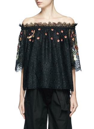Main View - Click To Enlarge - Temperley London - 'Leo' floral embroidered guipure lace off-shoulder blouse