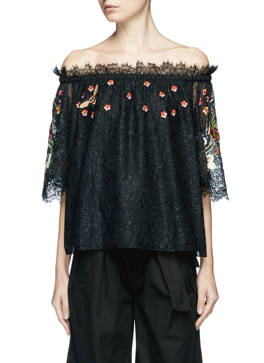 Leo floral embroidered guipure lace off-shoulder blouse by Temperley London