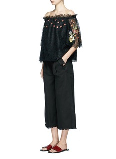 Temperley London 'Leo' floral embroidered guipure lace off-shoulder blouse