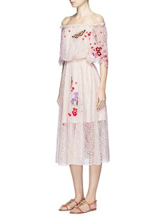 Temperley London 'Leo' floral embroidered guipure lace off-shoulder dress