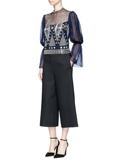 Temperley London Lantern sleeve beaded sheer mesh blouse