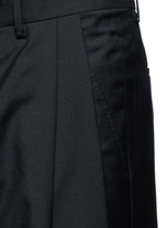 Oversized pleat front wool pants