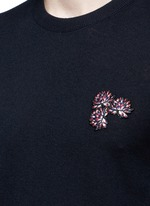 Lotus flower embroidery wool sweater