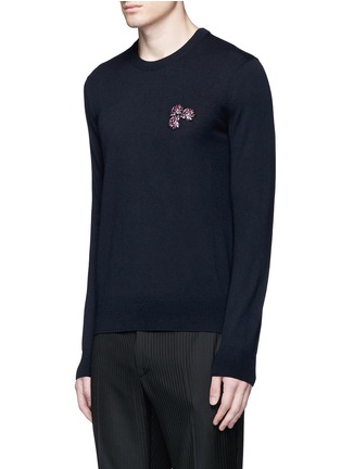 Front View - Click To Enlarge - Lanvin - Lotus flower embroidery wool sweater