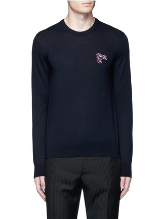 Main View - Click To Enlarge - Lanvin - Lotus flower embroidery wool sweater
