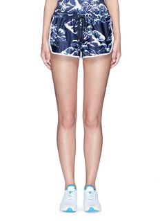 We Are Handsome'The Cascade' tidal wave print active running shorts