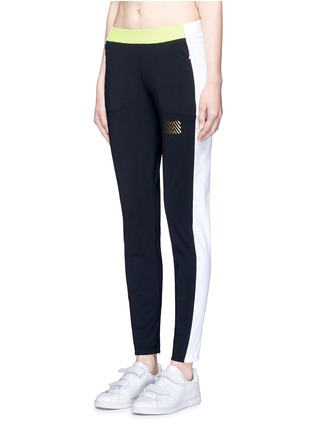 Front View - Click To Enlarge - Monreal London - 'Tuxedo' zip cuff colourblock track pants
