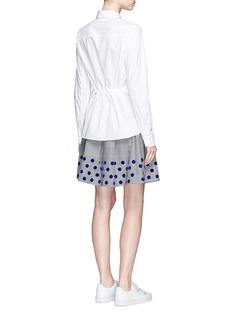 Clu TooFlocked polka dot drawstring waist poplin shirt