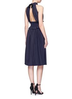 TrademarkSmocked waist wool blend pleated halterneck dress