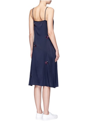 Back View - Click To Enlarge - Trademark - Embroidered floral silk satin slip dress
