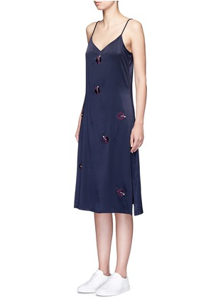 Front View - Click To Enlarge - Trademark - Embroidered floral silk satin slip dress