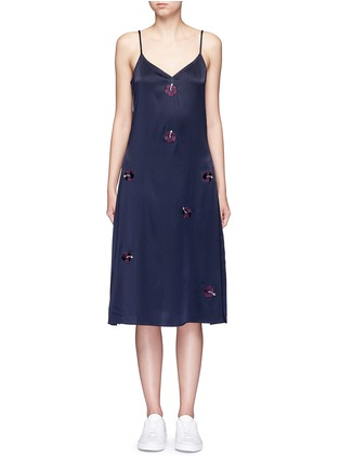 Main View - Click To Enlarge - Trademark - Embroidered floral silk satin slip dress