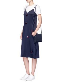 TrademarkEmbroidered floral silk satin slip dress