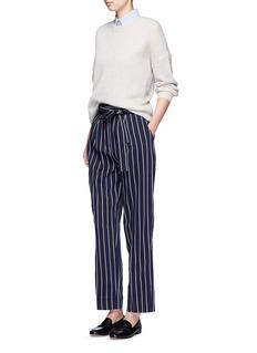 TrademarkTie waist stripe wool blend pants