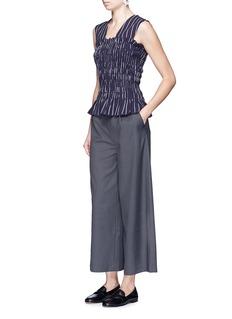 TrademarkStripe smocked cotton twill sleeveless top