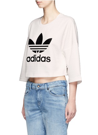 Front View - Click To Enlarge - Adidas - Trefoil logo print quilted knit cropped T-shirt